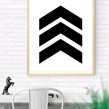 Chevron Arrow Printable, Black and White Geometrical art, wall art print, Bedroom decor, Black chevron arrows, Black decor, Geometric print