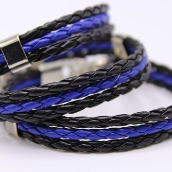 Thin Blue Line Woven Leather Bracelet For Men or Women With Silver Clasp