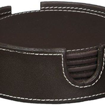 American Atelier Faux Leather Smooth Coaster Set Brown