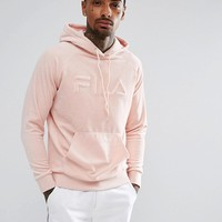 Fila Black Velour Hoodie With Retro Logo In Pink at asos.com