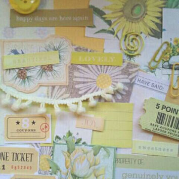 Yellow papercrafting pack. Yellow junk journal kit. Yellowncollage pack.