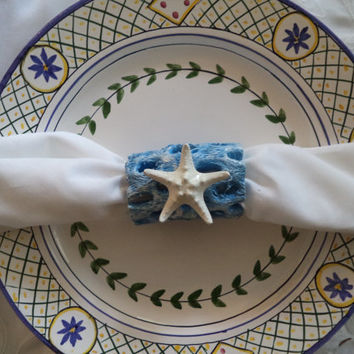 "Rustic ""Beach Blue"" Nautical Napkin Rings. Made from Choya/Cholla Wood & Knobby Starfish. Set of 4 - Perfect Beach Home Gift!"
