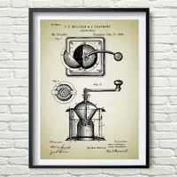 Hand coffee grinder 1885 Patent Poster, Illustration, gray, black, black graphic, yellow, blue Drawing Patent Get 5 Colors Background *24*