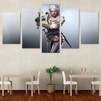 Canvas Wall Art Pictures Home Decor Living Room HD Printed 5 Pieces Wild Hunt Modern Poster Witcher 3 Modular Painting PENGDA