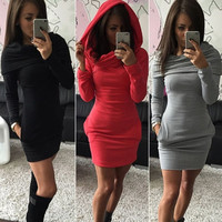 Womens Hooded Sweatshirt Ladies Slim Bodycon Hoodies Jumper Mini Dress Pocket Pullover = 5618493377