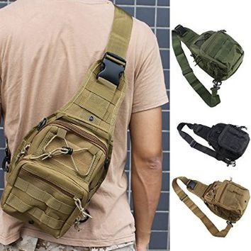 FAMI Outdoor Tactical Shoulder Backpack, Military & Sport Bag Pack Daypack for Camping, Hiking, Trekking, Rover Sling - Tan
