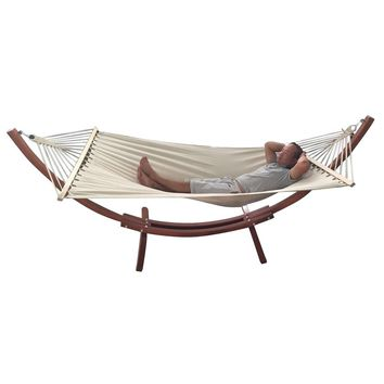 Portable Pine & Canvas Hammock Set Yellow Amber & White HOT SALE