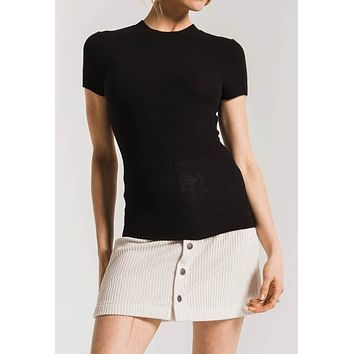 Z Supply - The Micro Rib Fitted Short Sleeve Black Tee