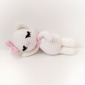 Amigurumi Cat Crochet Cat Crochet Baby Rattle Stuffed Toy Cat Nursely Toy Baby Toy Kawaii Kitten Plush Baby Shower Gift Ideas