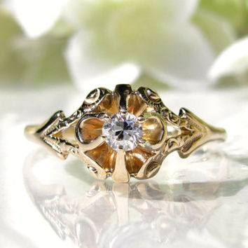 Belcher Setting Antique Engagement Ring 14K Yellow Gold Buttercup Setting Diamond Wedding Ring Size 7