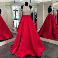 High Neck Sparkling Red Prom Dresses