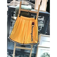 Champion Summer Men and Women Couples Casual Vertical Embroidery Ribbon Shorts F-AG-CLWM Yellow