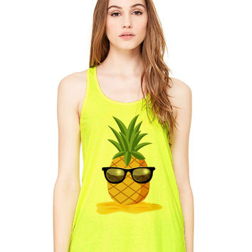 Neon Yellow Tank Top - Pineapple Man - Ladies Womens Racerback Beach Summer Outfit Spring Sand Sunglasses Fruit
