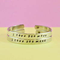 i love you more/i love you most - Hand Stamped Bracelets Set,  Shiny Aluminum Cuff Bracelets, Love Bracelets