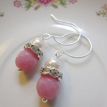 Silver Bridesmaid Earrings with Pink Pearls and Silver Crystal Spacer with Faceted Pink Rondelle Sterling Silver Ear Wires Bridesmaid Bride