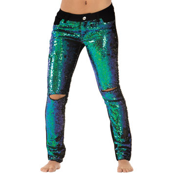 Adult Sequin Front Distressed Jeans