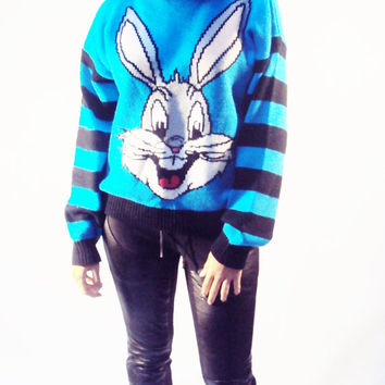 vintage 90s BUGS BUNNY Wool Sweater Blue Black Stripe CARTOON M,Med Pullover Tomboy, Grunge 2013