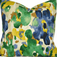 Floral Pillow Cover Blue Green Mustard Beige Brown Jeweltones Watercolor Designer Decorative Pair 18x18