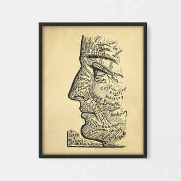 "Phrenology Art Print ""Chart of the Face"" Sivartha Art Work, Antique Book Illustration Steampunk Art Anatomy Medical, Physiognomy"
