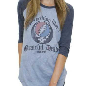 Grateful Dead Triblend All American Raglan - Women's Tops - Long Sleeve - Junk Food Clothing
