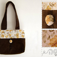 SALE 15% off - Tote - Brown Corduroy and Floral Yelow and White Cotton
