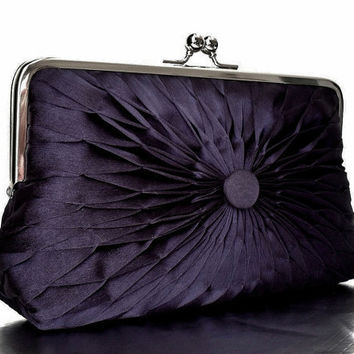 Navy Blue Chiffon Button Clutch - Size Large - MADE TO ORDER