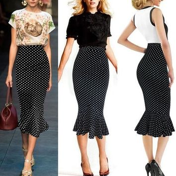 VfEmage Womens Vintage Polka Dot High Waist Party Cocktail Mermaid Pencil Midi Skirt = 5660130497