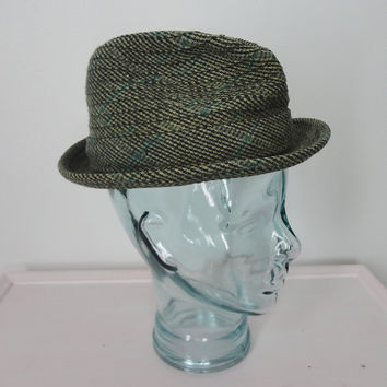Vintage Fedora Hat / Green Wool Tweed / 1960s Mid-Century / Men's