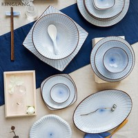Japanese style HENG FENG ceramic tableware Steamed Rice bowl sauce dish soup bowl fish plate procelain sushi plate
