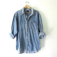 vintage jean shirt. washed out denim shirt. button down shirt. oversized denim shirt. distressed.