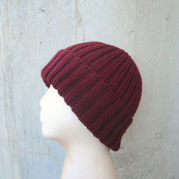 Burgundy Red Hat, Rich Red, Hand Knit, Peruvian Wool, Teens Men Women, Watch Cap Beanie