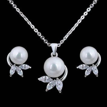PEAPUG3 The bride Earrings Necklace Shell Pearl Rhinestone chain set