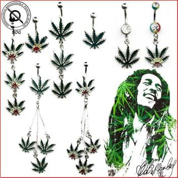 ac DCCKO2Q BOG-Sexy Jamaican Rasta Pot Leaf belly navel button ring  Green Leaf  Medical Stainless Steel Piercing  Body Piercing Jewelry