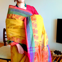 Yellow cotton saree/ tant yellow saree with blue , green and red border / yellow cotton saree with red border/ bengal saree/tant