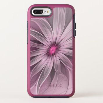 Pink Flower Waiting For A Bee Abstract Fractal Art OtterBox Symmetry iPhone 8 Plus/7 Plus Case