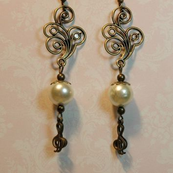 Antique Bronze Treble Clef Earrings with Glass Pearls by Myvera