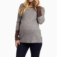 Charcoal-Brown-Suede-Cuff-Maternity-Top