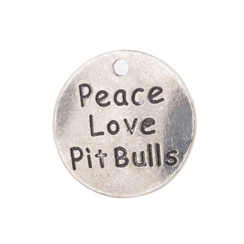 FREE SHIPPING 20PCS Antiqued Silver Peace Love Pit Bulls Round Charms #92289
