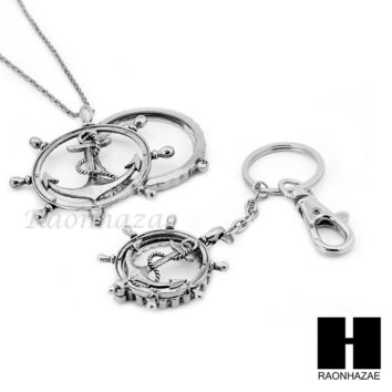 Magnifying Glass Wheel with Anchor Key Chain & Pendant Chain Necklace Set SJ1S