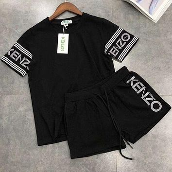 KENZO 2018 counter latest women's tide brand fashionable sport suit F-AA-XDD Black