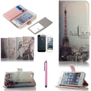 iPhone SE Case,ATC Lumsing(TM) Art Series Vintage Retro Paris France Eiffel Tower & Girls PU Leather Wallet Type Magnet Design Flip Case Cover Credit Card Holder Pouch Case for iPhone SE 5SE 5S 5 Case (wallet case Eiffel Tower)