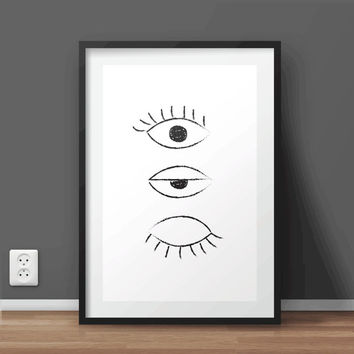 Hand Drawn 'The Eye' Printable Wall Art | Typography Print | Minimal Print | Large print 50x70 cm