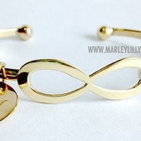Monogrammed German Silver Gold Tone Infinity Bracelet | Marley Lilly