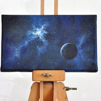 """FREE SHIPPING, Original painting, 9.9""""x5.9"""", art, acrylic, canvas, space, blue, white, black, sun, galaxy, home decor, abstract landscape"""