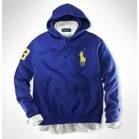 Beauty Ticks Ralph Lauren Polo Yellow Big Pony Men Sport Hoodies In Blue