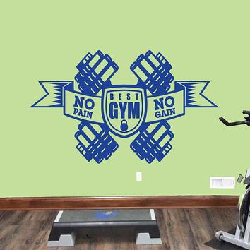 No Pain No Gain Quote Wall Decal, Dumbbell Wall Sticker, Garage Gym Wall Decor, Crossfit Motivation Quote Wall Decal, Gym Wall Mural se088