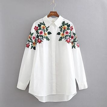 X185 spring brief women fashion green leaves and floral embroidery long sleeve loose casual shirt blouse ladies blusas tops