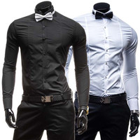 Luxury Men's Fashion Slim Fit Shirt with FREE Bow Tie