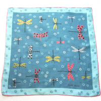 Linen Handkerchief Blue Dragonflies by Faith Austin