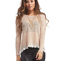 Open-Back Crochet Trim Tee | Wet Seal